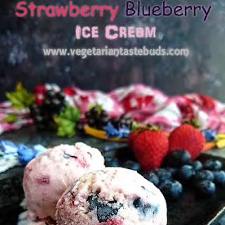 Strawberry Blueberry Ice Cream – 5 Ingredients | Egg-free | No Churn.