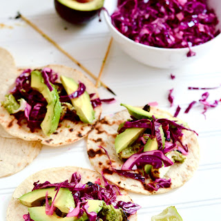 Grilled Chicken Tacos with Cilantro Pesto and Red Cabbage Slaw.