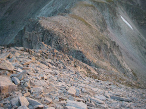 Photo: Looking down at our previous day's turnaround point at the notch at the base of Mount Alice's summit cone.