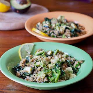 Quinoa with Zucchini, Kale, Pesto, Walnuts and Avocado.