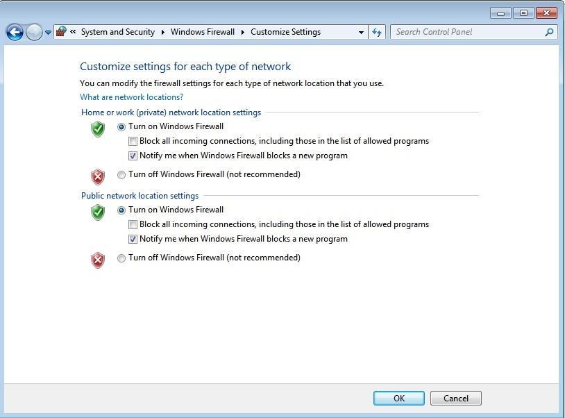 Windows Firewall settings to fix Roblox error