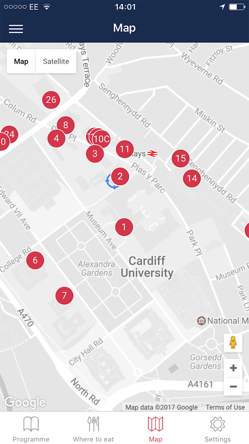 Cardiff University open day- screenshot