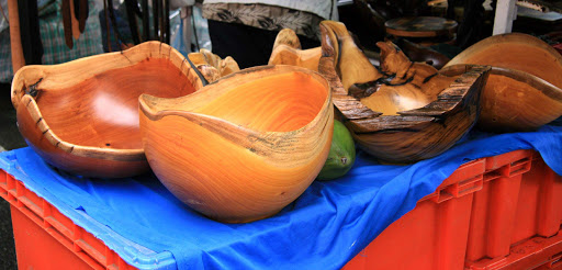 puerto-limon-wooden-bowls - Wooden bowls fashioned from gourds in Puerto Limon, Costa Rica.