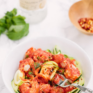 Zucchini Noodles and Shrimp with Spicy Vodka Sauce.