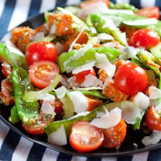 Snow Pea & Sweet Potato Salad with Walnut-Basil Pesto