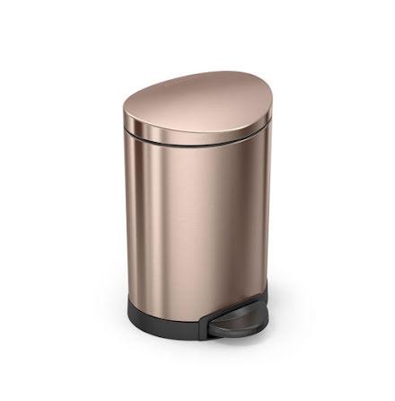 Semi-rund pedalhink Simplehuman 6 liter, rosenguld, rostfritt stål