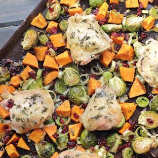 Autumn Roasted Veggie Sheet Pan Chicken with Craisins.