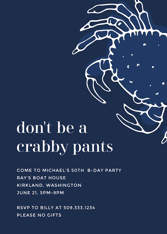 Don't Be a Crabby Pants - Birthday Card Template