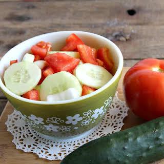 Cucumber Tomato and Onion Salad.