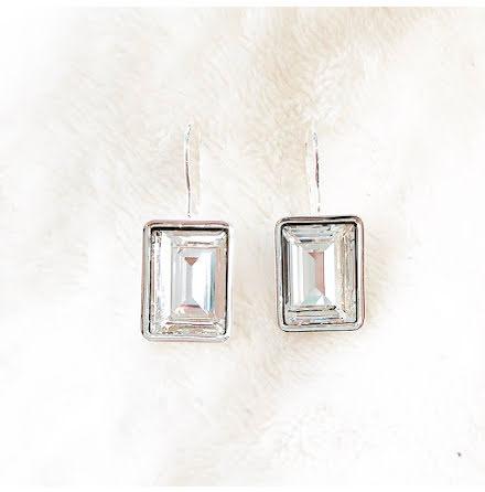 Örhängen med Swarowski® kristaller Charlie Rektangel Crystal Clear
