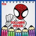 Spider Superhero Man coloring book icon