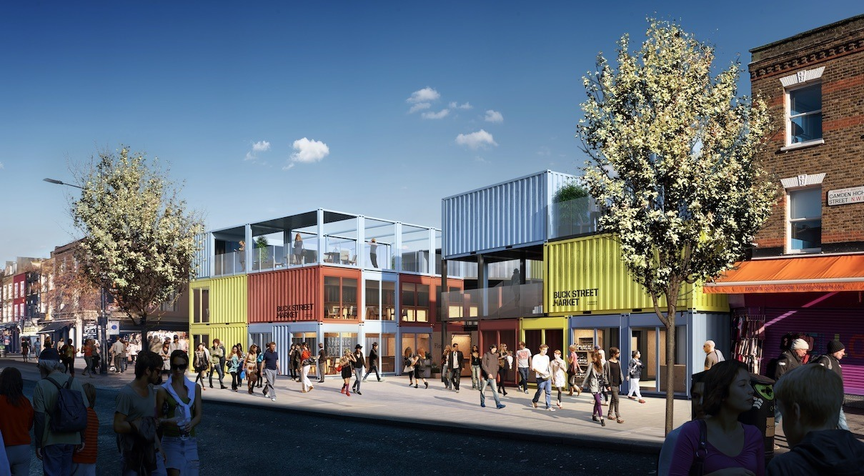Old rail cars architectural rendering of Buck Street Market