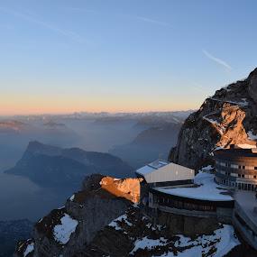 Mountaintop Escape by Jay Hathaway - Landscapes Mountains & Hills ( mountain, mountains, switzerland, hotel, landscape )