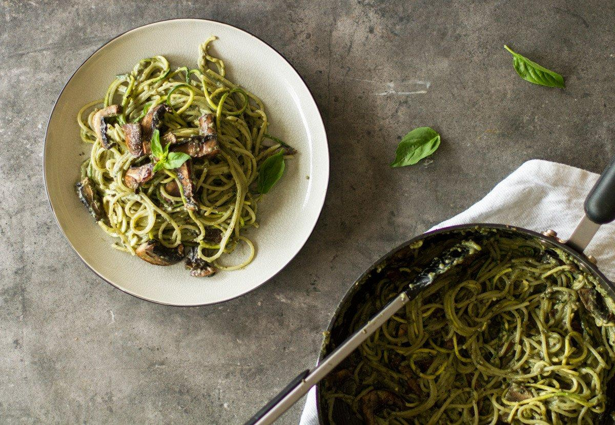 creamy herb and mushroom vegan pasta recipe