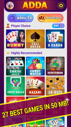 Adda : Rummy , Callbreak ,Solitaire & 29 Card Game 8.60 screenshots 1