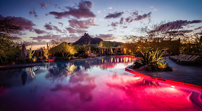 Photo: Today is a big travel day - leaving the Arizona to come back home to New Zealand. This is third trans-pacific flight in one week!  Here's a photo from yesterday of the amazing pool that has ever-changing-colors under the water at the +Four Seasons Resort Scottsdale at Troon North -- that place rocks!
