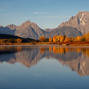 Oxbow Bend Pano by Sandra Woods - Landscapes Mountains & Hills ( reflection, national park, fall, snake river, sunrise, grand tetons, aspen, river,  )