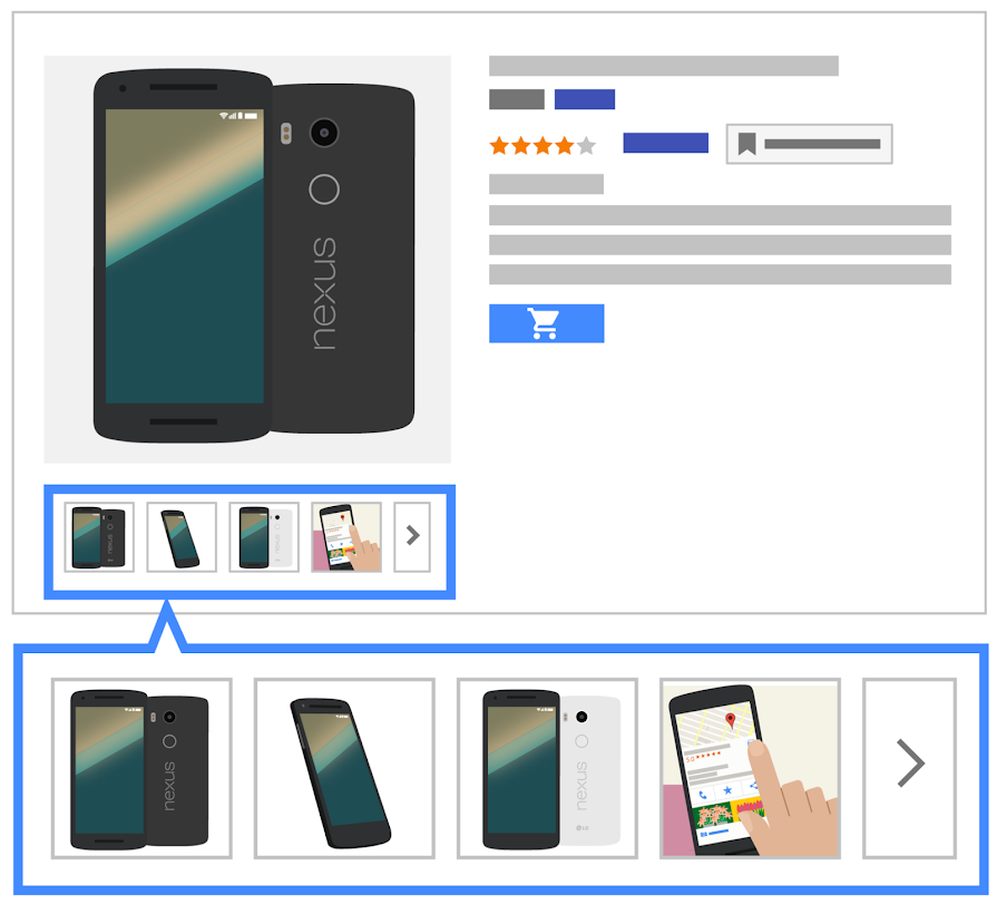 Illustration of a Nexus phone product ad with rating, description, buy button, and carousel of additional product views.