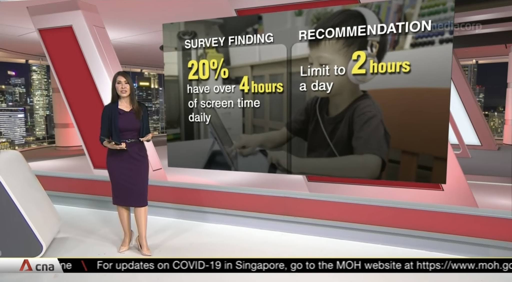 Screenshot of CNA programme on recommended screen time.
