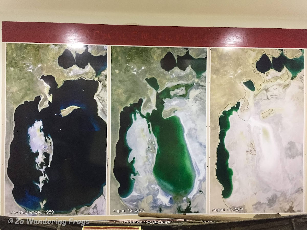 Off-the-Beaten Path Uzbekistan: A 3-Day Aral Sea Tour // Aral Sea Map Before and After. Photo: Regional History and the Aral Sea Museum