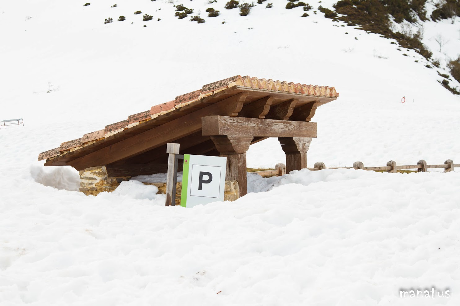 manatus parking en la nieve