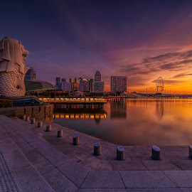 by Gordon Koh - City,  Street & Park  City Parks ( singapore, sunrise, reflection, modern, urban, city, asia, city park, fullerton, clouds, building, merlion )