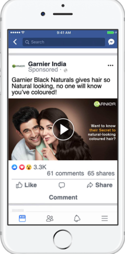 example of garnier India ad on facebook