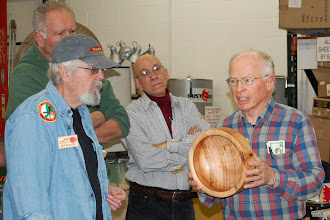 Photo: Phil explains a customer wanted a lighter salad bowl and he made this one out of a piece of linden.