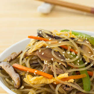 Korean Stir-Fried Noodles (Chapchae).