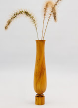 """Photo: GARY GUENTHER 1"""" x 7"""" WEED POT [OSAGE ORANGE] (form variation from Hans Coper)"""