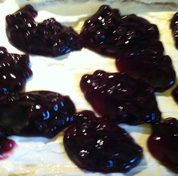 Place spoonfuls of blueberry filling on top scattered. Run a knife through filling to...