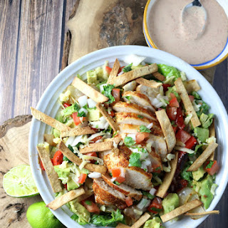 Chicken Fajita Salad with Buttermilk-Chipotle Dressing