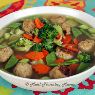 Mini Chicken Meatballs 'n Vegetable Soup