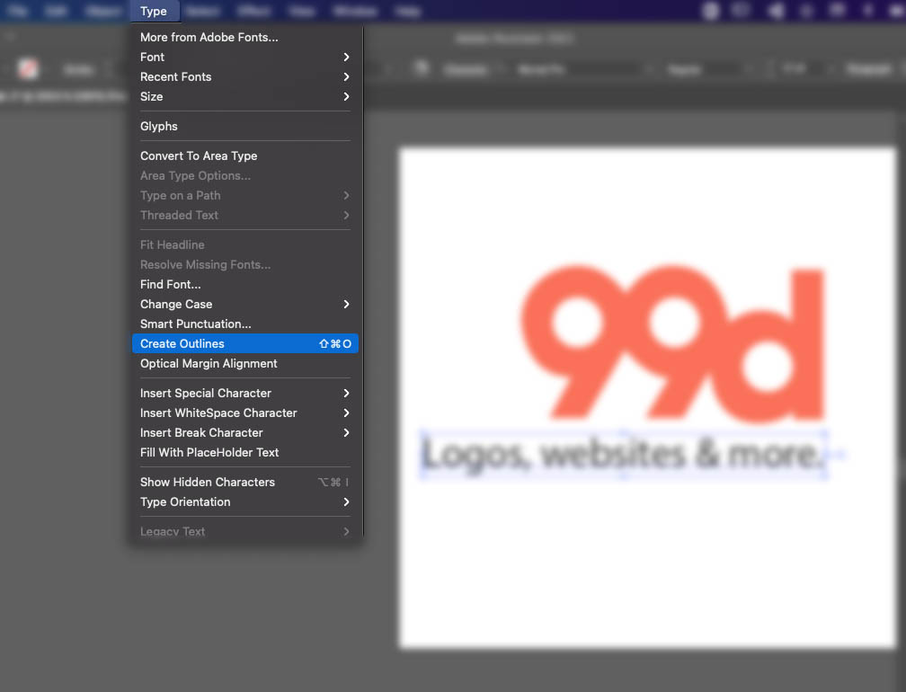 Screenshot of Adobe Illustrator interface showing how to outline text