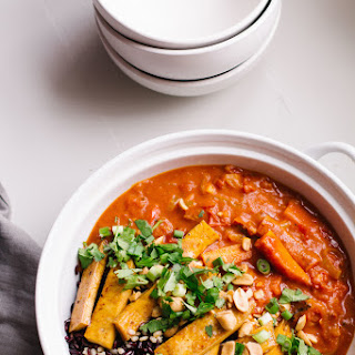 Carrot Coconut Curry With Crispy Tofu