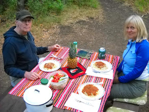 Photo: Fresh pasta from Il Pastiao in Boulder at Dalton Springs Campground, 4 mi W of Monticello, Utah. Note pineapple centerpiece.