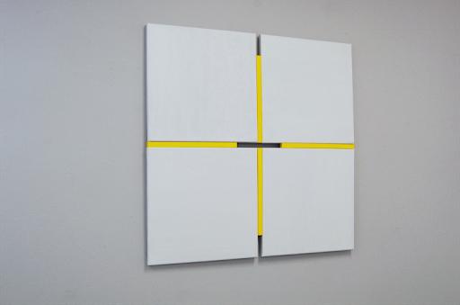 Tineke Porck, Shifts light yellow, 82 x 82 cm, oil on canvasconstruction, 2020, foto Henk Porck