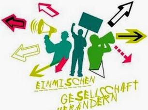 Grafik: Drei junge Menschen mit Demoschild und Megafon. «Einmischen – Gesellschaft verändern».