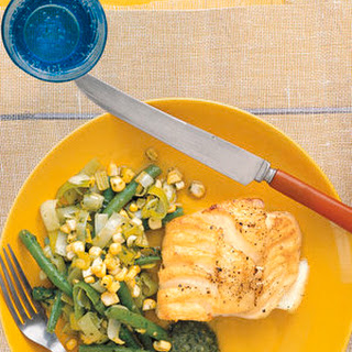 Cod With Beans, Corn, and Pesto.