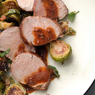 Chile-Marinated Pork with Vietnamese Brussels Sprouts.