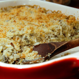Creamy Chicken, Mushroom And Wild Rice Casserole.
