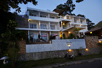 Photo: Our hotel at dusk.