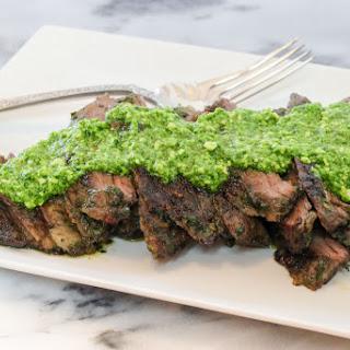 Grilled Marinated Skirt Steak with Mustard Greens Pesto.