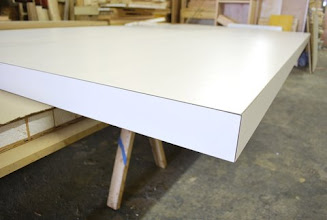 """Photo: 140"""" x 46"""" x 2 1/2"""" torsion box vacuum table with 1/4"""" mdf skins both sides and all 4 edges"""