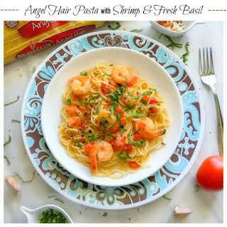 Angel Hair Pasta with Shrimp and Fresh Basil.