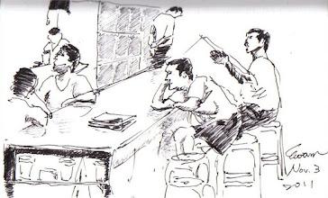 Photo: 午休2011.11.03鋼筆 趁著午休的空檔,才藝班的收容人一邊看報,一邊閒聊,一邊看電視。