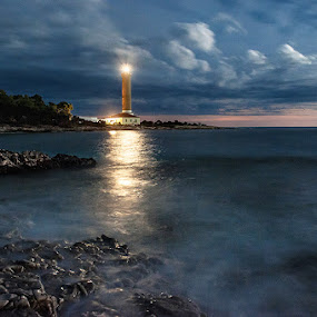 Veli Rat Lighthouse by Zeljko Marcina - Landscapes Starscapes ( veli rat, dugi otok, lighthouse, croatia, sea, night, dalmatia,  )