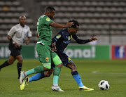Mlungisi Mbunjana of Cape Town All Stars and Percy Tau of Mamelodi Sundowns FC during the Nedbank Cup, Last 32 match between Cape Town All Stars and Mamelodi Sundowns at Athlone Stadium on February 09, 2018 in Cape Town.