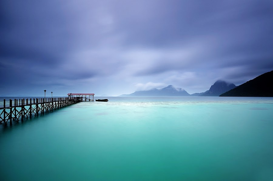 Two Tones by Nora Carol Sahinun - Landscapes Waterscapes ( celebes sea, marine national park, semporna, sabah borneo, bohey dulang, pier, ocean, malaysia, jetty )