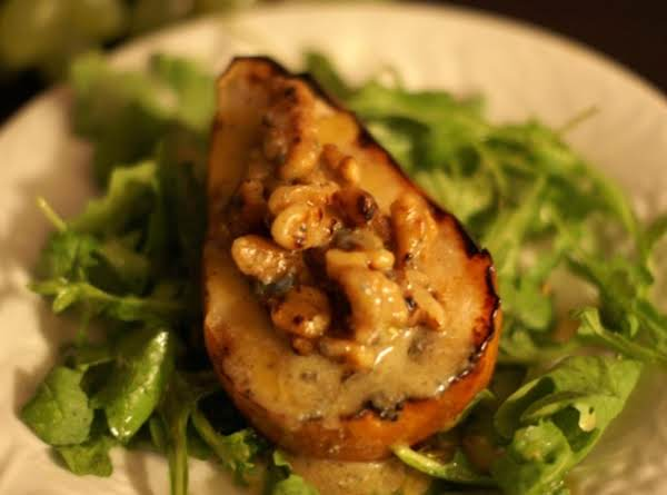 Grilled Pear Salad With Gorgonzola, Walnuts And Spicy Mustard Vinaigrette